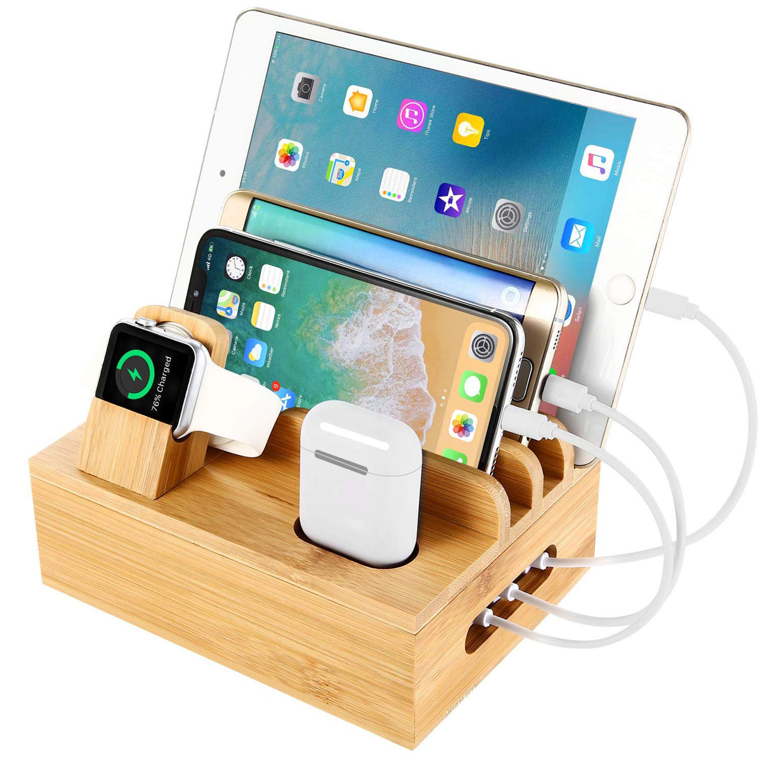 Natural, Stand, Storage, Cellphone, Wood, Watch