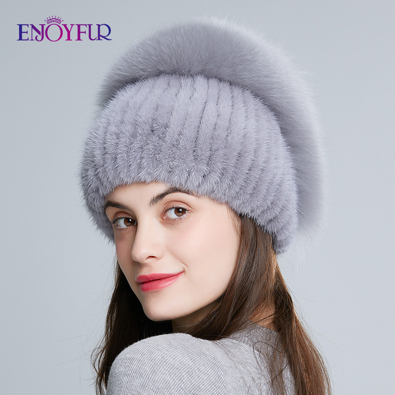 ENJOYFUR Real Mink Fur Hats For Women Natural Fox Fur Caps High Quality Knitted Fur Hats Thick Warm Beanies With Rose Rhinestone