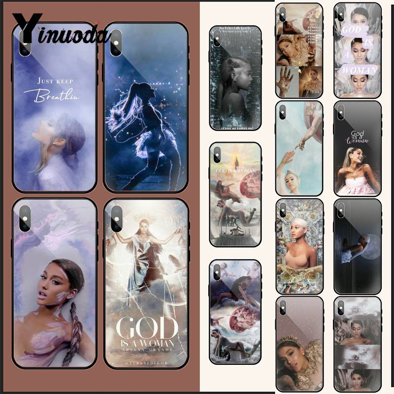 Yinuoda <font><b>Ariana</b></font> <font><b>Grande</b></font> God woman Colorful Cute glass PhoneCase For <font><b>iPhone</b></font> XR XS MAX X 7 8 <font><b>6S</b></font> Plus 11 11Pro 11Pro max Mobile <font><b>Cases</b></font> image