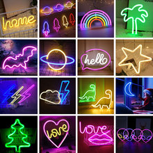 Neon-Light Sign Bedroom-Decoration Holiday-Decor Rainbow-Hanging Wall-Art Party Hello