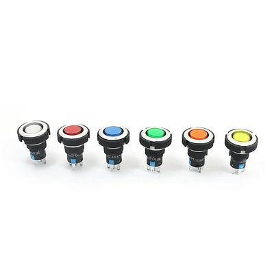 6 шт. 12 В 22 мм резьба SPDT 5Pin фиксация 6 цветов Пилотная лампа кнопочный переключатель