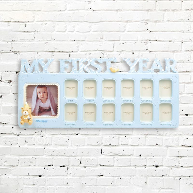 Handmade DIY Baby 12 Months Growth Record Commemorate Kids Growing Memory Gift Display Photo Frame E65D