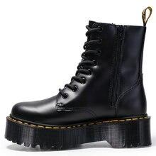 Ботинки martin из натуральной кожи на толстой подошве; женские теплые зимние ботинки с боковой молнией в британском стиле; рабочие ботинки на рифленой подошве со шнуровкой