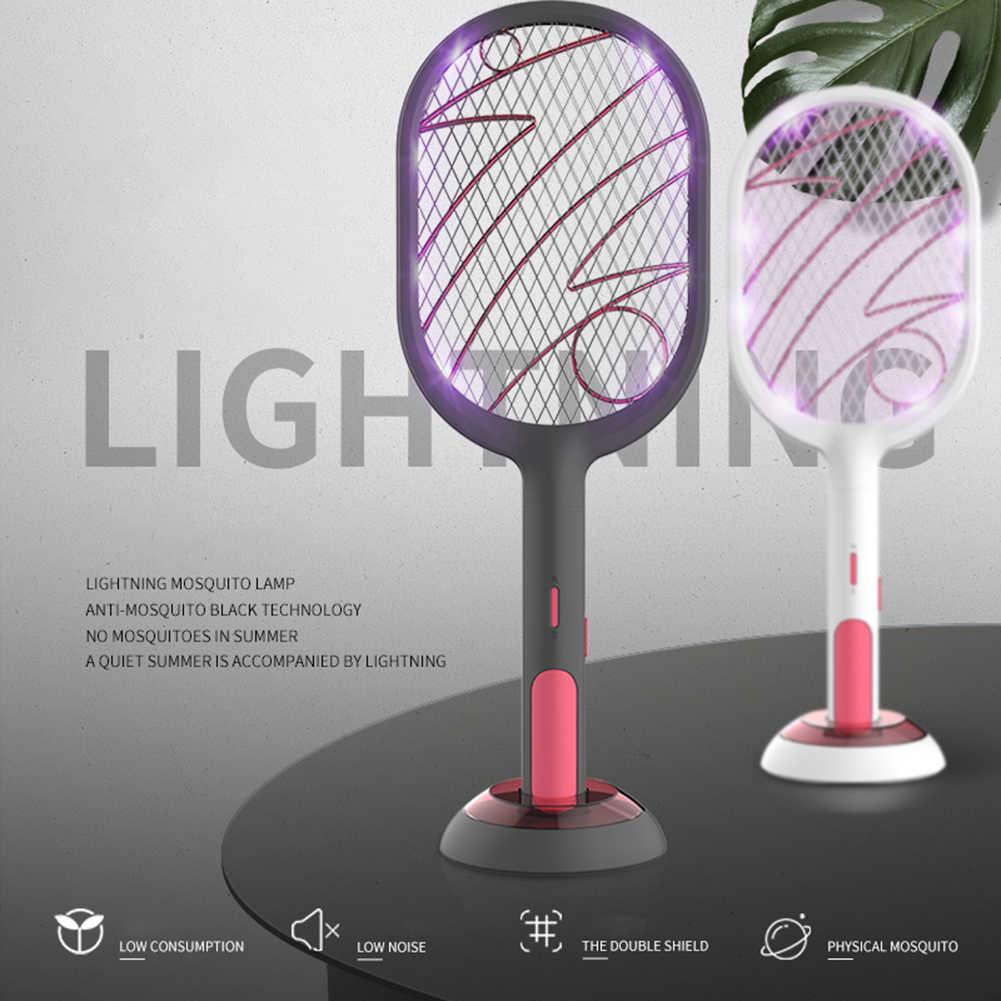 Elektrische Muggen Killer2 Modi 1200Mah Usb Oplaadbare Home Fly Bug Zapper Racket Inserts Killer Ongediertebestrijding Producten Dropshi