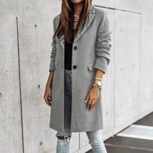 Adisputent 2020 Fashion Women długi płaszcz wełniany jednorzędowy Design z długim rękawem Solid Color skręcić w dół kołnierz ciepły kardigan Top tanie tanio Poliester Akrylowe CN (pochodzenie) Wiosna jesień REGULAR women jacket Osób w wieku 18-35 lat O-neck Otwórz stitch Pełna