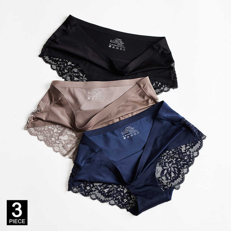 กางเกงผู้หญิงเซ็กซี่ลูกไม้ชุดชั้นในชุดชั้นในสีทึบกางเกงขายร้อนกางเกงยีนส์M-XXL 3 ชิ้น/ล็อตDropshipping