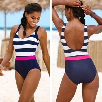 2021 New One Piece Swimsuit Flouced Swimwear Women Classic Vintage Bathing Suits Beachwear Backless Slim Swim Wear S~2XL 5