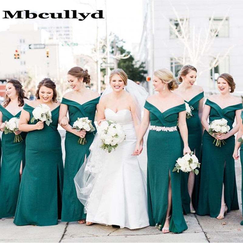 Mbcullyd Gorgeous Mermaid Dark Green   Bridesmaid     Dresses   2019 Sexy Off Shoulder Party Gowns Formal   Dress   For Women With Split
