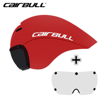 CAIRBULL 2 Lens Cycling Helmet Racing Magnetic Goggles Helmet Triathlon Time Trial Bike Helmet Pneumatic TT Road Bicycle Helmet