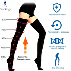 Medical Class II Knee-High Compression Stockings Varicose Veins Unisex Open Toe Stockings