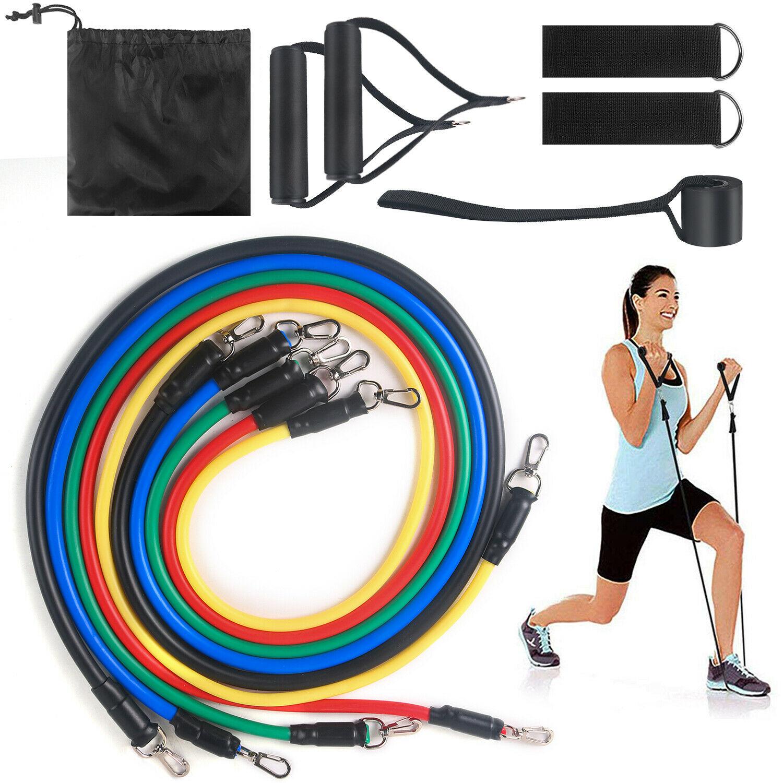11 Pcs Yoga Pilates Resistance Band Set Abs Exercise Fitness Tube