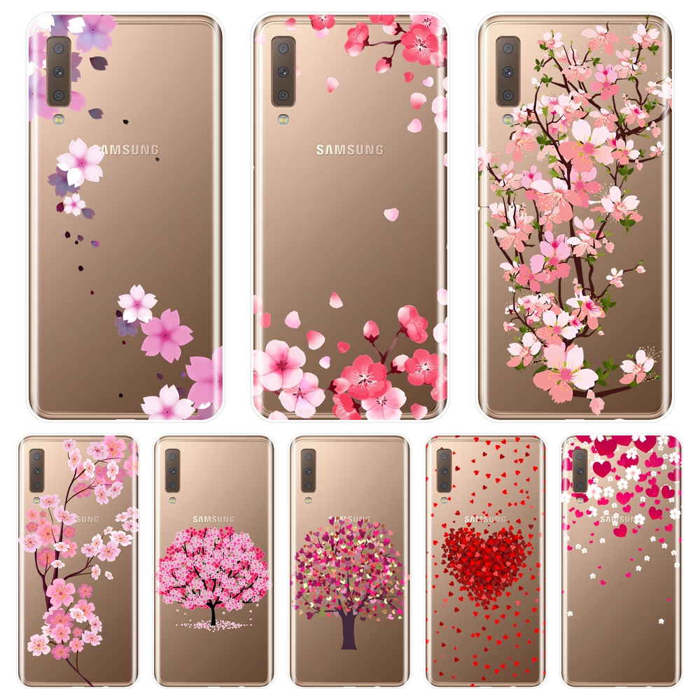 Phone <font><b>Case</b></font> For <font><b>Samsung</b></font> Galaxy A6 A8 Plus 2018 <font><b>A5</b></font> A7 Soft <font><b>Silicone</b></font> Flower Heart Pink Back Cover For <font><b>Samsung</b></font> A3 <font><b>A5</b></font> A7 2016 <font><b>2017</b></font> image