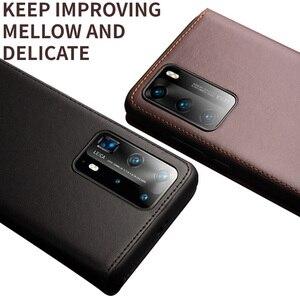 Image 5 - Carteira de telefone caso flip capa para huawei p40 p40pro couro genuíno saco do telefone casos negócios capas para huawei p40 pro capa