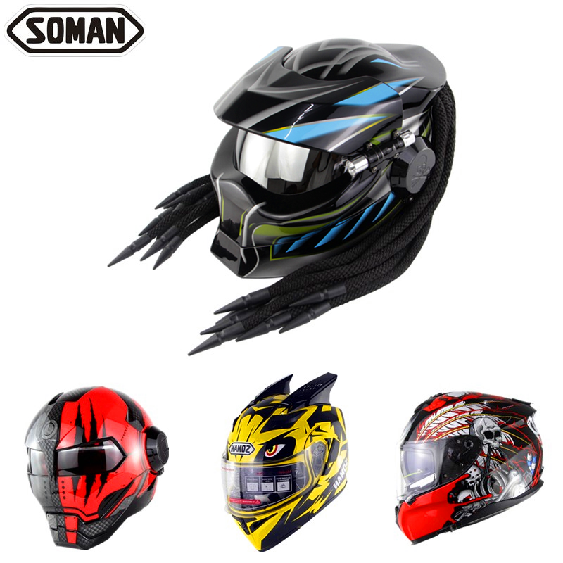 SOMAN Predator Helmet Retro Casque Black Full Face Motorcycle Helmet With Braid Cool Motorbike Flip Up Capacetes Vintage Helmets