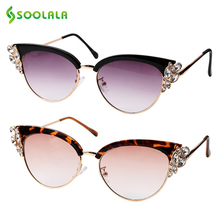 SOOLALA 2019 Brand Luxury Cat Eye Rhinestone Sunglasses Women Crystal Ladies Eyewear Vintage Night Red Cateye Sun Glasses