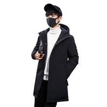 цена на Men's Duck Down Jacket Brand Solid Winter Jacket for Men Doudoune Homme 2019 Hooded Men's Winter Jacket Coat X-long Down Jacket