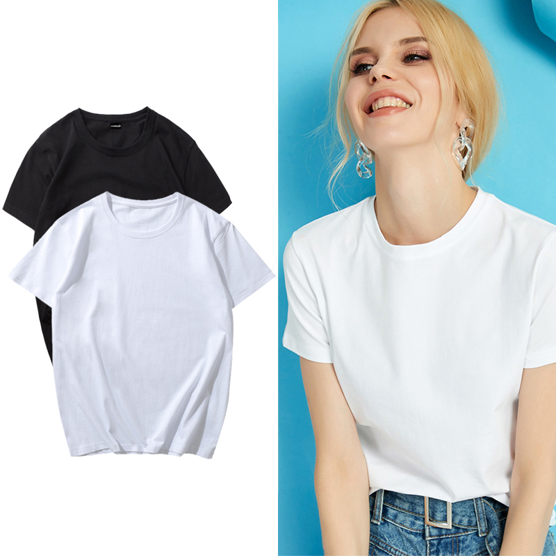 Женская футболка, базовая белая футболка, женская футболка, летняя, размера плюс, с коротким рукавом, женские Рубашки, Топы, женские футболки из хлопка Футболки      АлиЭкспресс