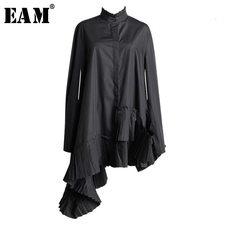 [EAM]2020 New Spring  Stand Collar Long Sleeve Black Hem Irregular Ruffles Pleated Stitch Shirt Women Blouse Fashion JL338