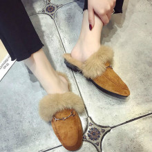 autumn winter new Faux fur mules women lazy shoes loafers comfort pregnant furry slides fluffy hairy flip flops