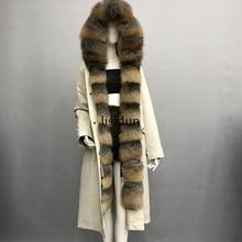 2019 natural fox fur coat Silver Fox collar plus size long winter Jacket Rex rabbit liner red fox hooded thick warm parks Disass red fox куртка ветрозащитная long trek женская 44 0100 чернила ss17