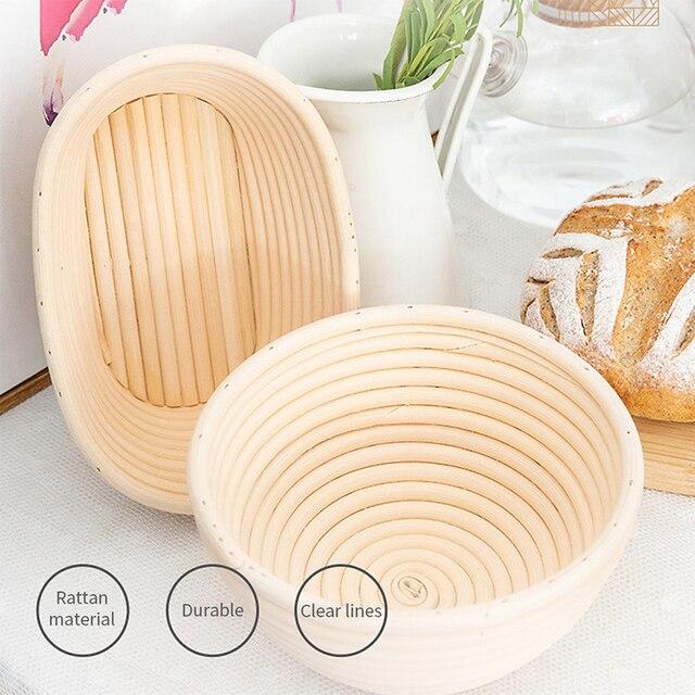 Bread Fermentation Rattan Basket Cloth Cover Set Lined Reusable  Round Oval Baking Bread fermentation basket Food storage basket