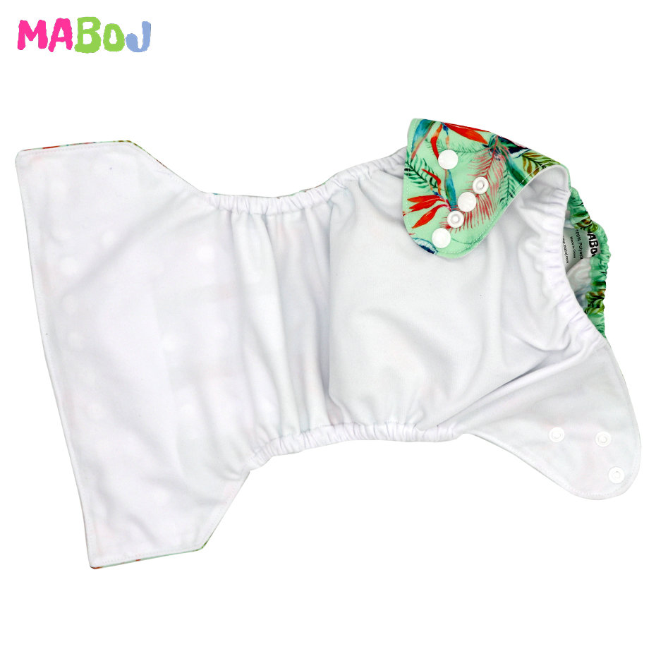 MABOJ Cloth Diapers Reusable Baby Cloth Pocket Diaper Cover Washable Nappies Carton Green ECO Nappy Waterproof All In One Nappy | Happy Baby Mama