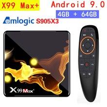 X99 Max Plus decodificador de señal con Android 9,0, 2,4G/5G, Wifi, BT 4,0 RK, Quad Core, 4K, 1080P, Full HD, reproductor KD, prefijo