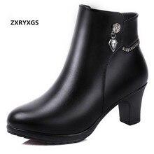 Лидер продаж модные стразы бантом зимняя обувь женские теплые зимние ботильоны Женские ботинки из натуральной кожи; ботильоны