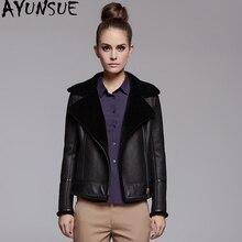 AYUNSUE Chaqueta de piel auténtica para mujer, abrigo de pelo de oveja Natural, chaqueta de invierno, abrigo de piel de oveja 100%, cazadora femenina MY