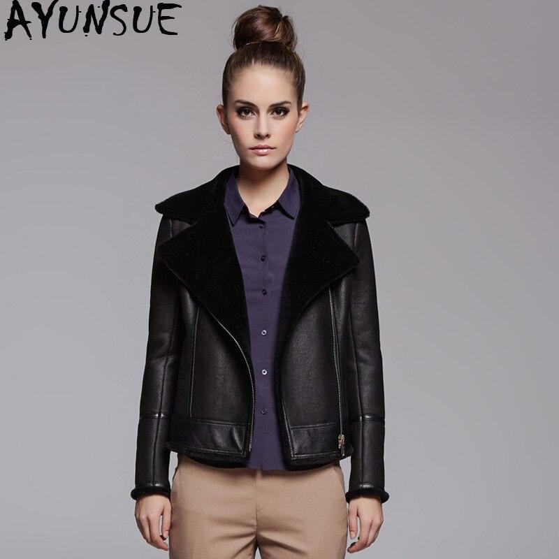 AYUNSUE Genuine Leather Jacket Natural Sheep Shearling Fur Coat Winter Jacket Women 100% Sheepskin Coat Female Bomber Jackets MY
