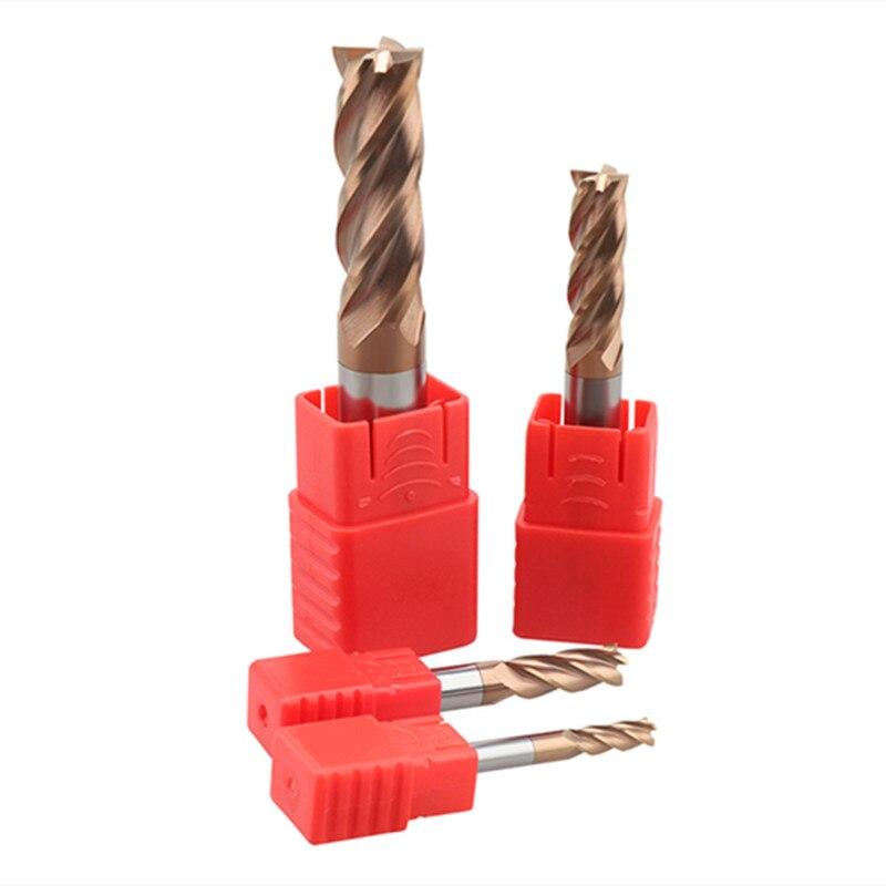 Fraise en carbure CNC, 4 cannelures, 1 2 4 5 6 8 10 12mm, 4 cannelures, coupe en fer, machine CNC, HRC55