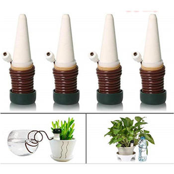 4Pcs Automatic Vacation Plant Waterer Garden Cone Watering Spikes Self Watering Irrigation for Outdoor Indoor Plant Flower Use 4pcs set plastic automatic watering device plant watering irrigation spray bottle 4pcs agricultural watering can