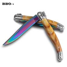 8,6 ''складной нож из нержавеющей стали, радужные карманные ножи, титановые портативные обеденные фруктовые ножи для стейков, инструмент для пикника, барбекю