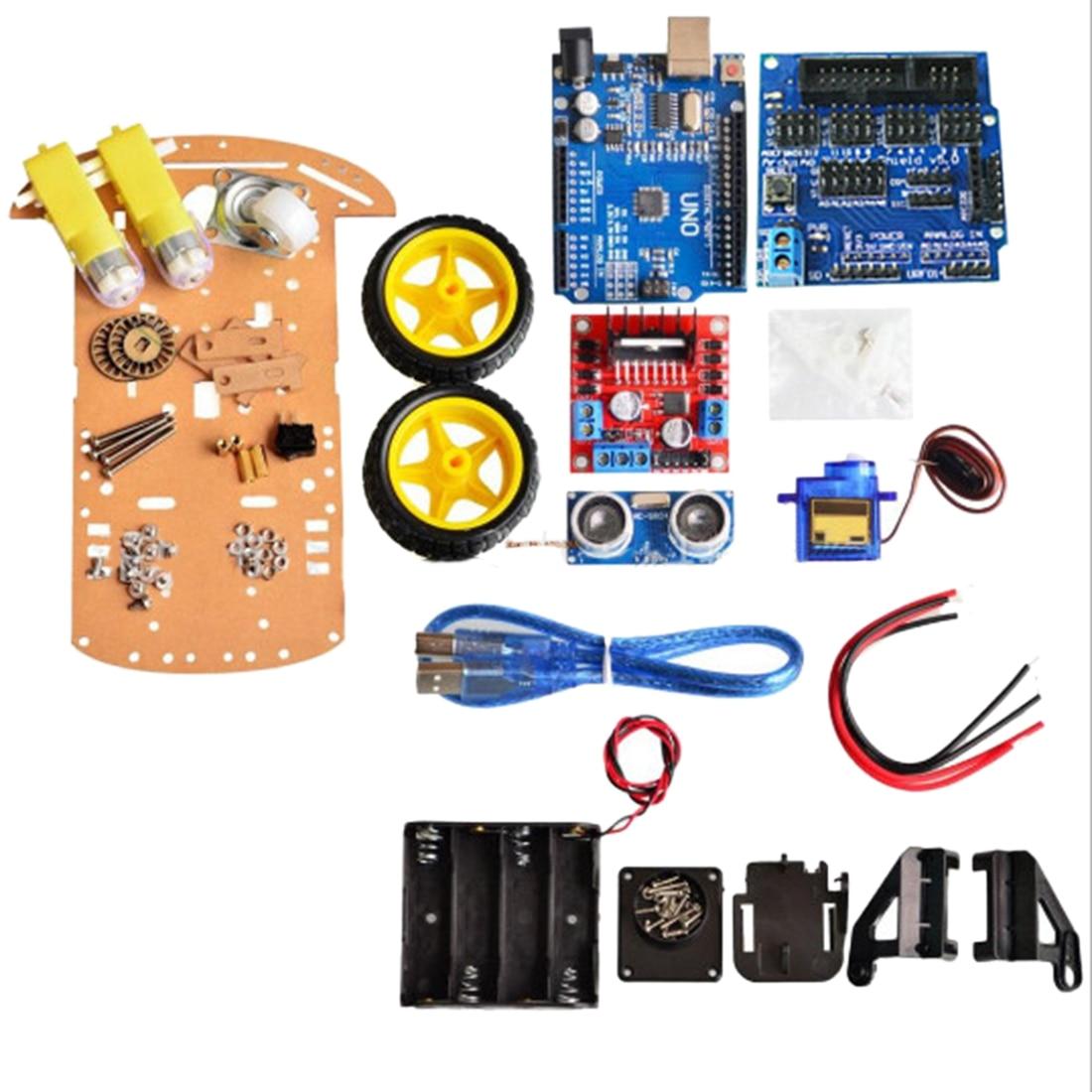 7Pcs Four-Wheeled Smart Car R3 Automotive Chassis Ultrasonic Module Kit