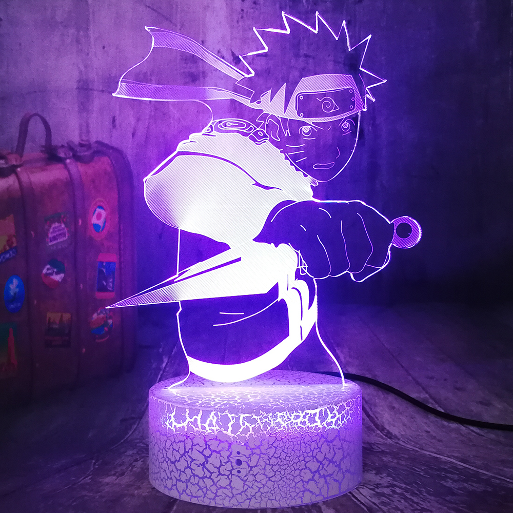 Anime Figure Uzumaki Naruto With Dagger 3D LED Night Light RGB 7 Colors Crackle White Base Desk Lamp Home Decor Birthday Gift