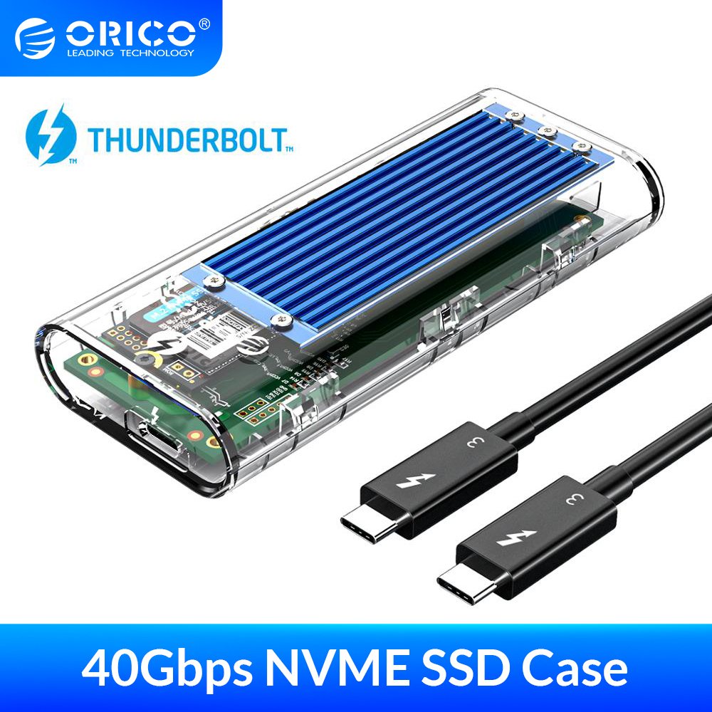 SSD Enclosure Case Orico Thunderbolt C-To-C-Cable Transparent 2TB NVME M.2 USB with 40gbps