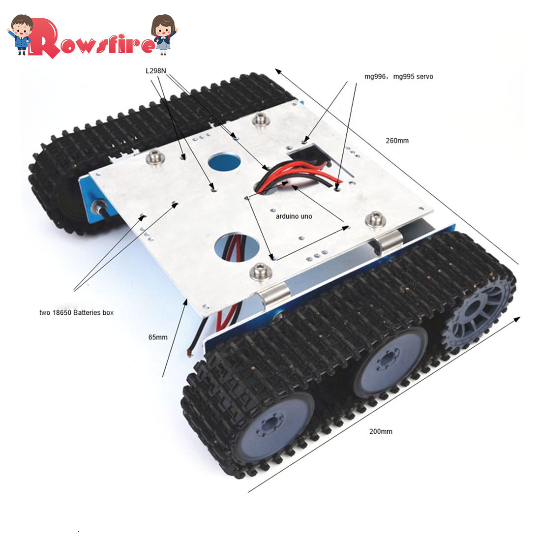 DIY Aluminium Alloy Tank Robot Caterpillar Vehicle Platform Chassis Assembly Kit For Arduino
