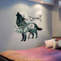 [shijuekongjian] Horrific Wolf Moon Forest Wall Stickers DIY Animal Mural Decals for Kids Room Dormitory Baby Bedroom Decoration