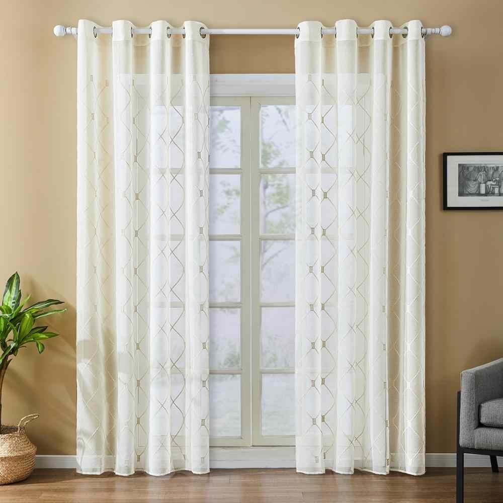 Topfinel геометрические вышитые прозрачные Занавески Тюль окна шторы для кухни гостиной спальни белая, тонкая, прозрачная ткань для кафе