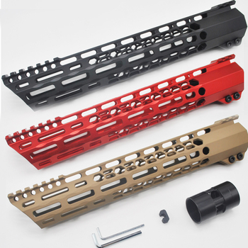 Aplus 12'' inch M-LOK Clamping Free Float Handguard Picatinny Mount System MLOK Hunting AR-15/M4/M16_Black/Red/Tan Smooth