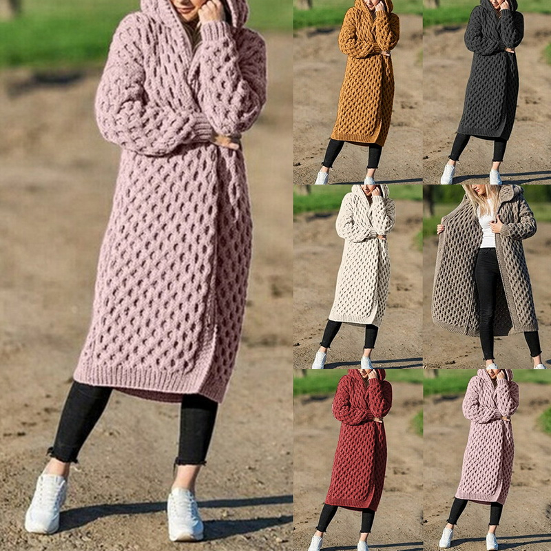 US $10.22 41% OFF|2020 Autumn Winter Women Fashion Knit Sweater Solid Knitted Hooded Open Front Long Coat Loose Sweater Cardigans Ladies