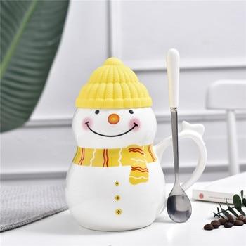 Cute Cartoon Ceramic Coffee Mug with Lid and Spoon Original Creative Coffee Kids Cup Student Home Milk Cup Christmas Gift MM50MK