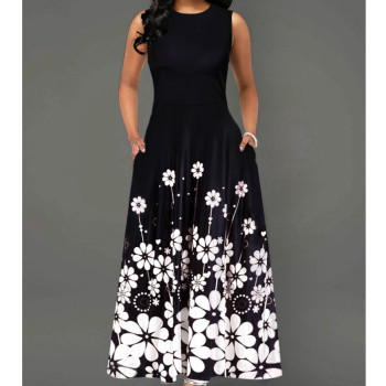 Sleeveless Floral Print OL Dress Boho Style Dresses Woman Clothing Color: O-neck Black Size: L
