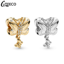 CUTEECO 2019 New Shining Gold Silver Butterfly DIY Dangle Fit Pandora Charm Bracelet For Women Jewelry Accessories Wholesale