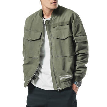 Men's Washed Pure Cotton Brand-Clothing Army Green Bomber Jackets Male Cargo Coats  Brand New Spring Men Casual Jacket Coat
