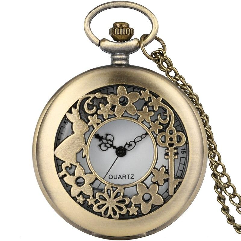 Vintage Alice in Wonderland Themed Rabbit Key Flowers Hollow Quartz Pocket Watch Necklace Pendant Clock Kids Children Girls Gift