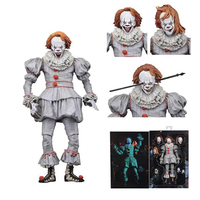 3 Heads Newest Original NECA Horror It Pennywise Joker PVC Action Figure Halloween Day Gift