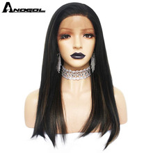 Anogol Futura Fiber Black Mix Brown Natural Hair Wigs Long Straight Synthetic Lace Front Wig For Women Free Part For Women