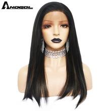 Anogol Futura 섬유 블랙 믹스 브라운 자연 헤어 가발 롱 스트레이트 합성 레이스 프론트 가발 여성용 여성용 무료 부품