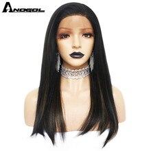 Anogol فوتورا الألياف الأسود مزيج براون شعر طبيعي الباروكات طويل مستقيم الاصطناعية الدانتيل شعر مستعار أمامي للنساء جزء الحرة للنساء